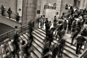 crowded steps on a train station